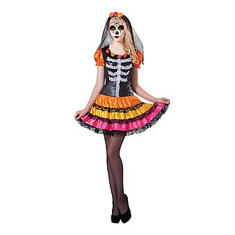 Bristol Novelty Womens/Ladies Day Of The Dead Lady Rainbow Dress