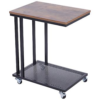 HOMCOM Mobile Sofa Side End Coffee Table Coffee Table Laptop Stand Metal Frame Rolling Castors Storage Wooden Trolly