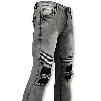 Grijze  Spijkerbroek Biker Jeans - 3012-2