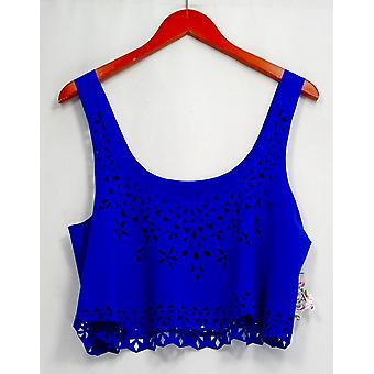 Becca by Rebecca Virtue Top Cut Out Detailed Scoop Neck Tank Blue