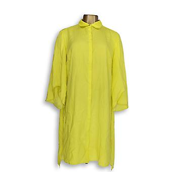 H by Halston Women's Top Long Sleeve Button Front Tunic Yellow A301999