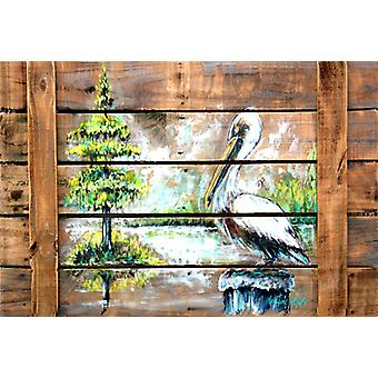 Carolines Treasures  MW1215PLMT Summer by the Lake White Pelican Fabric Placemat