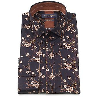Guide London Black Cotton Sateen Blossom Print Mens Shirt