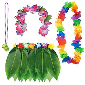 TRIXES Hawaiian Fancy Dress 4PC Collection for Tropical Beach Theme Luau Party