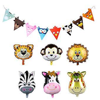 Trixes ensemble de 6 ballons animaux de papier d'aluminium de 22 pouces et 2M Animal Garland décorations