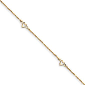 14k Yellow Gold Polished Spring Ring Sparkle Cut Love Hearts With 9inch 1in Ext Anklet Jewelry Gifts for Women