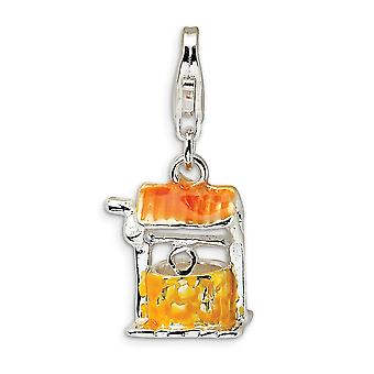925 Sterling Silver Rhodium plated Fancy Lobster Closure Enameled Well With Lobster Clasp Charm Pendant Necklace Measure