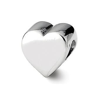 925 sterling sølv poleret antikke finish refleksioner hjerte form perle charme