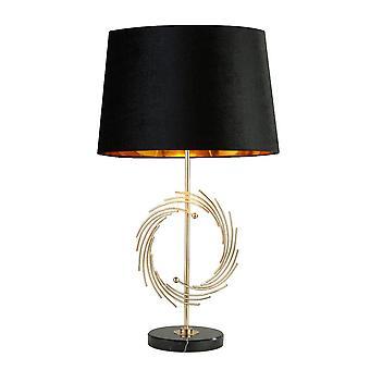 Searchlight Roman 1 Lampada da tavolo luce oro, Black Shade 5310GO