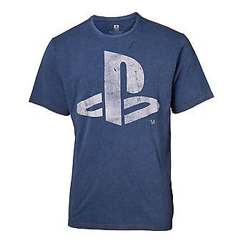 Sony Playstation Logo Faux Denim T-Shirt Male XX-Large Blue (TS551122SNY-2XL)