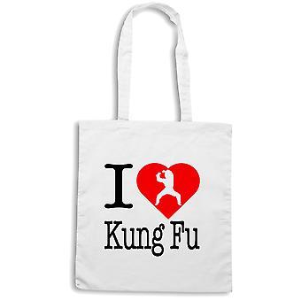 White shopper bag wtc1677 i love kung fu
