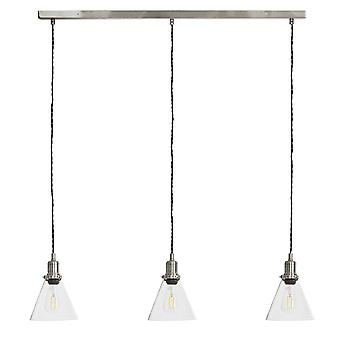 Garden Trading Hoxton Cone Glass Triple Bar Pendant Light In Satin Nickel
