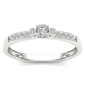 Igi certified genuine 10k white gold 0.19 ct diamond classic engagement ring
