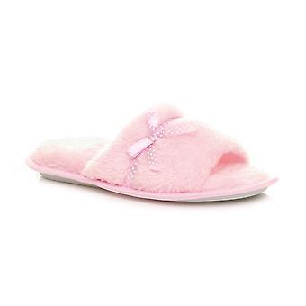 Ajvani womens winter thick foam fluffy fur lined spa mule bow slippers