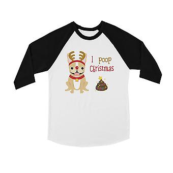 Frenchie Christmas poop cool BKWT Kids baseball shirt ferie gave