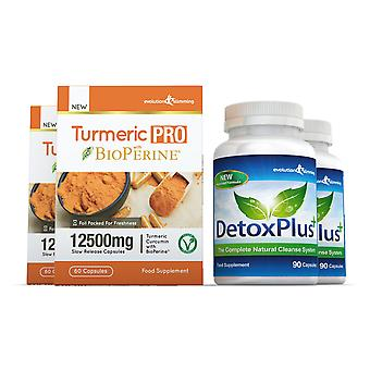 Turmeric Pro with BioPerine and DetoxPlus Combo Pack - 2 Month Supply - Dietary Supplement and Cleanse - Evolution Slimming