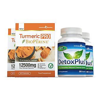 Gurkmeja Pro med BioPerine och DetoxPlus Combo Pack - 2 månaders leverans - kosttillskott och rengöra - Evolution Bantning