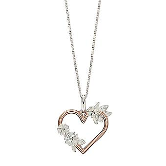 Joshua James Allure Silver With Rose Gold Plating Flower Heart Pendant