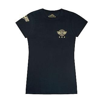 Captain Marvel T-Shirt Schild Logo Womens Damen Superhelden Top in schwarz