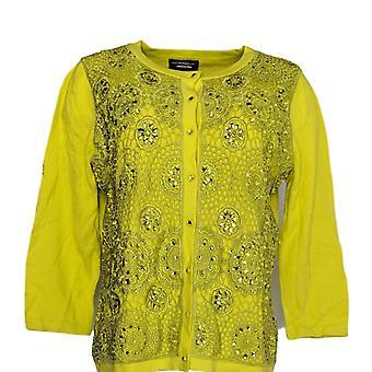 Isaac Mizrahi Live! Frauen's Pullover verschönert hellgrün A262848