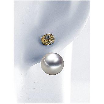Luna-Pearls & #150; Pärldubbar briljanter 0,06 ct-gult guld 585 9-9.5 mm