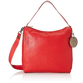 Mandarin Duck Mellow Leather Strap/Black Red Women's Hand Bag (Flame Scarlet) 26x30x9 cm (W x H x L)