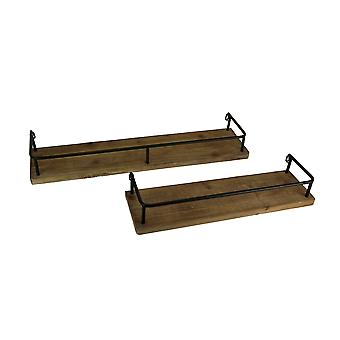Rustic Farmhouse Tin Frame Wood Wall Shelf Set of 2