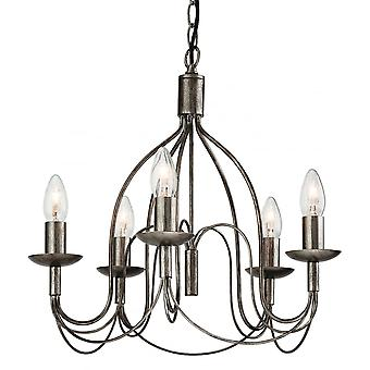 Firstlight Origin Traditional Antique Silver Stick Ceiling Pendant Light Fitting