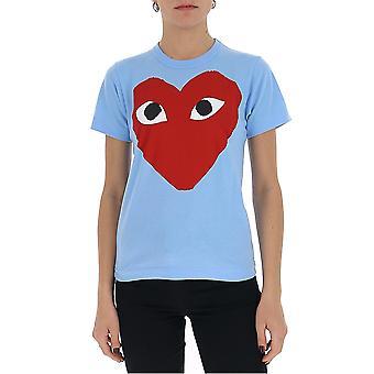 Comme Des Garçons Play P1t2731 Women's Light Blue Cotton T-shirt