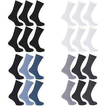 FLOSO Mens Ribbed Non Elastic Top 100% Cotton Socks (Pack Of 6)