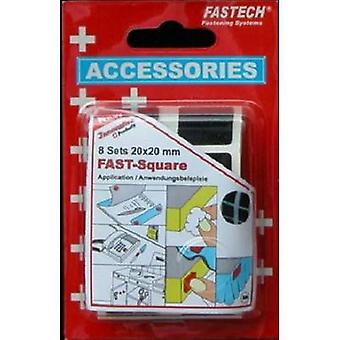 FASTECH® 682-330 Hook-and-loop stick-on squares stick-on (hot melt adhesive) Hook and loop pad (L x W) 20 mm x 20 mm Black 8 Pair
