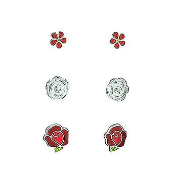TOC Sterling Silber Blume, rote Rose & 3D Rose Ohrstecker - 3 paar