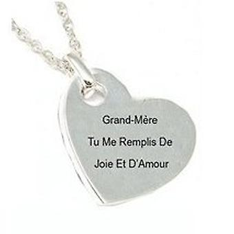 TOC Silvertone 'Grand-Mère Tu Me...' Sentiment Heart Pendant On 18 Inch Chain