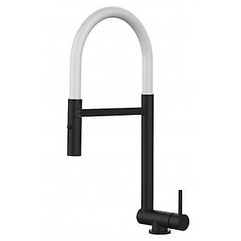 Single-spak Blackchrome Kitchen Sink Mixer Med Vit Rörlig Pip Och 2 Jets Dusch - Endast 4,5 cm - 500