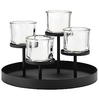 Blomus candlestick NERO powder coated steel round combined with glass