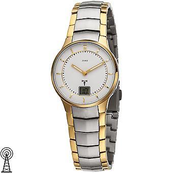 JOBO reloj de pulsera para mujer funk acero inoxidable bicolor chapado en oro con fecha