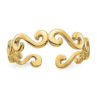 14k Gul Guld Polerad Virvel Tå Ring Smycken Gåvor för kvinnor - 0,8 Gram