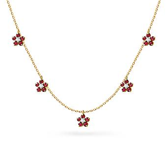 Necklace Constellation Fairy Flower 18K Gold on Precious Stone Ruby | Emerald | Sapphire - Yellow Gold, Ruby