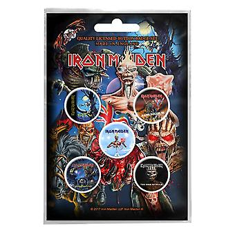 Iron Maiden badge pack Albums band logo Book of Souls Official 5 x Pin Button