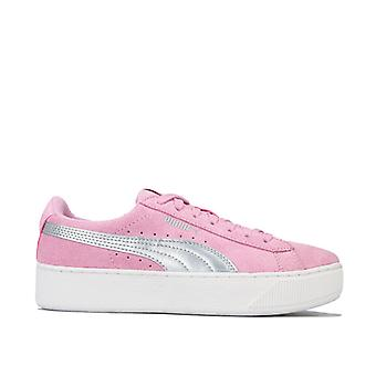 Girl's Puma Junior Vikky Platform Trainers in Pink