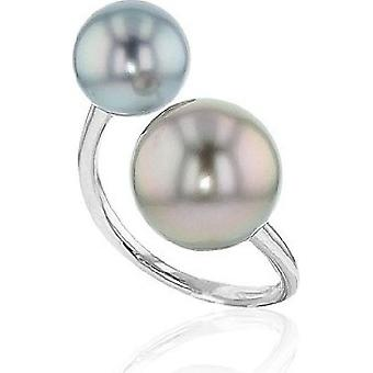 Luna-Pearls Pearl Ring Tahitipearl 9-10 and 11-12 mm 585 White Gold Ring Size 56 (17.8mm) 3001184-004
