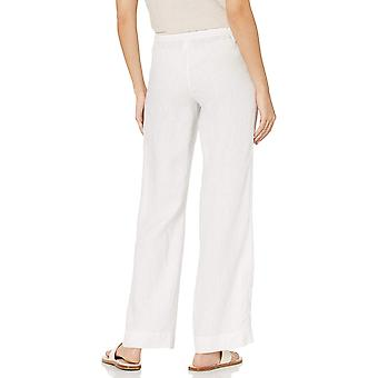28 Palms Women's Comfy Wide Leg Linen Pant with Drawstring,, Blanc, Taille Large