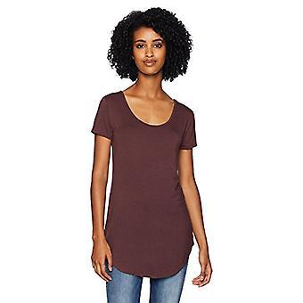Brand - Daily Ritual Women's Jersey Short-Sleeve Scoop-Neck Longline T-Shirt, purple heather, Medium