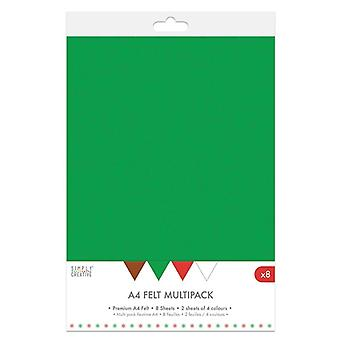 Simply Creative Christmas A4 Felt Multipack (8pcs) (SCPCK011X19)