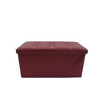 Rebecca Furniture Sitting Container Pouf Similpelle Bordeaux 38x76x38