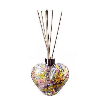 Heart Shaped Reed Diffuser White Multi Colour by Amelia Art Glass