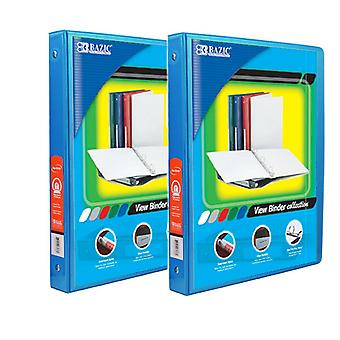 Combo6, BAZIC 1/2 Inch 3-Ring View Binder with 2-Pockets (Case pack of 24: Cyan)