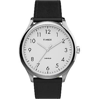 TW2T71800, Timex TW2T71800 Men's Modern Easy Reader 40mm Black Leather Strap Watch