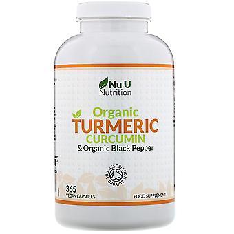 Nu U Nutrition, Organic Turmeric Curcumin & Organic Black Pepper, 365 Vegan Caps