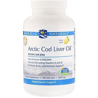 Nordic Naturals, Arktisk fiskleverolja, citron, 1 000 mg, 180 Softgels